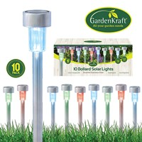 10pk Stainless Steel Bollard Solar Lights