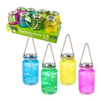 20 LED Solar Glass Lantern with Rope handle