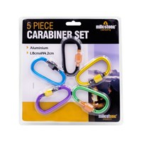 5PC Aluminium D-Type Carabiner with Lock