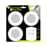 3pk Puck light incl R/C & Timer Function