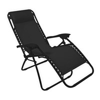 Deluxe Lounger/Chair with Pillow - Black
