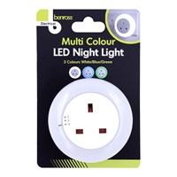 LED Night Light With Socket - White/Blue/Green