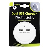 Night Light with Dual USB Charger 2.4A