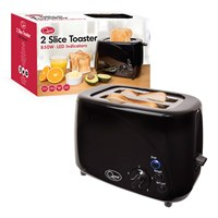 850w 2-Slice LED Buttons Toaster - Black