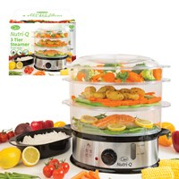 Nutri-Q 10.5 Litre S/S Food Steamer W/Rice Bowl