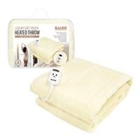 Bauer Luxury Soft Touch Heated Throw,Cream 120x160