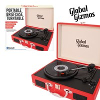 Red-Portable Turntable Suitcase With Bluetooth