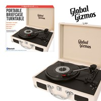 Cream-Portable Turntable Suitcase With Bluetooth