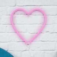 Pink Neon Heart Wall Light