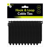 100pcs Hook & Loop Cable Ties - Black 12x160mm