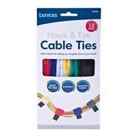 12pk Hook & Eye Cable Ties