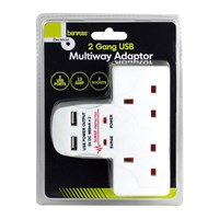 2 Way Wall Adaptor With 2 USB Ports - 13A