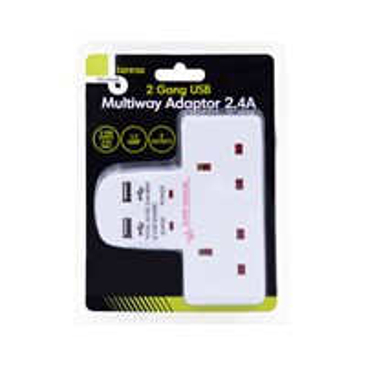 2 Way Wall Adaptor With 2 USB Ports - 2.4A