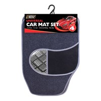 4pc Car Mat - Black/Silver