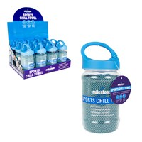 Sports Chill Towel & Carabiner Bottle - Blue