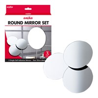 3PK Self Adhesive Mirrors Round Large