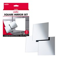 3pk Self Adhesive Mirrors Square Small