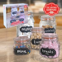 5PC Clear Glass Jar W/ Airtight Lid