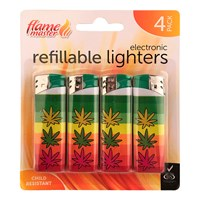 4pk Refillable Lighters-Leaf
