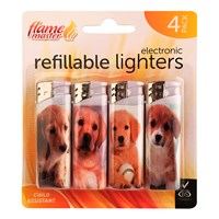 4pk Refillable Lighters-Dog