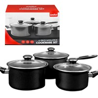 6pc Saucepan Set - Black