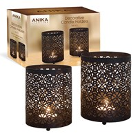 2PC Black Metal Candle Holder W/Geometric Pattern