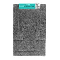 2 Piece Bath Mat Set - Charcoal