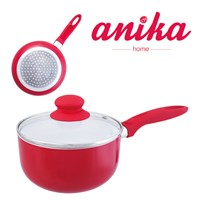 16cm Red Ceramic Saucepan