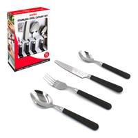 16 Piece Plastic Handle Cutlery-Black