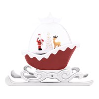 LED Water Sleigh Lantern With Santa - Red