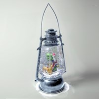 LED Silver Lantern With Santa & Reindeer