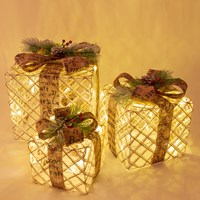 Set of 3 Rattan LED Christmas Gift Box