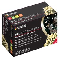 50 LED Battery Op Timer Lights  Warm White