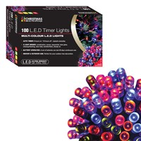 100 LED Battery Op Timer Lights/ Multi Colour