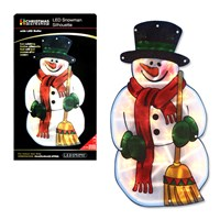 B/O Snowman Metallic Silhouette  Window Light