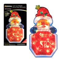 Battery Operated Santa Stop Metallic Silhouette