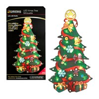 Battery Operated Xmas Tree Metallic Silhouette