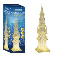 44cm LED Water & Glitter Church-W.White