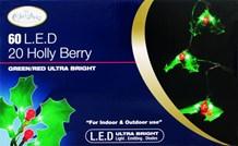 60 LED Holly Leaf & Berry Lts (70750)