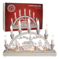 Battery Operated/ 10LED Wooden Candle Bridge