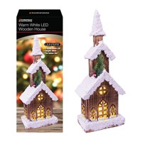 3 LED Tier Snow Tipped  Wood House