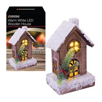 20cm Snowy Wooden House Warm White LED