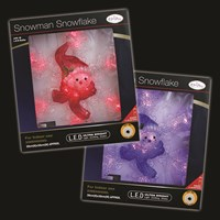 18 LED Snowflake W/Snowman Face - 2 Assorted