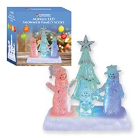 Snowman Family Scene Colour Change Acrylic