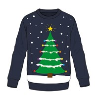 Crew Neck Knitted Man Jumper W/Xmas Tree Graphic