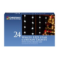 24 LED Star Curtain Lights - White