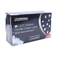 80 LED Clear Outdoor Candle Chaser Lights