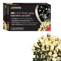 300 LED Battery Operated Timer Light - W.White
