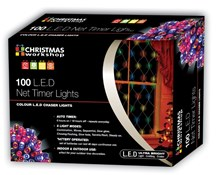 100 LED Battery Op Net Timer Lights - Multi Col
