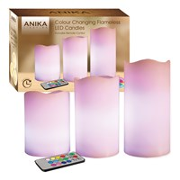3Pc Colour Changing Flameless Led Candles